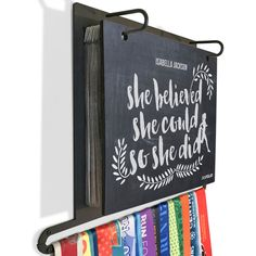 BibFOLIO Plus Race Bib and Medal Display - She Believed She Could So She Did Chalkboard