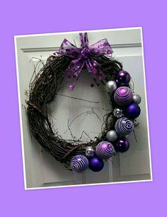 Purple Christmas ornament wreath
