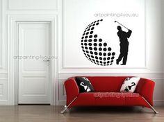 Vinilos decorativos. Silueta de jugador de golf.