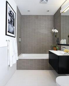 Bathroom contemporary bathroom - modern tiles, no bitsy borders, so makes small spaces look bigger!