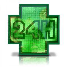 CRUZ - REF: OURENSE: Cruz de farmacia exterior de LEDs de alta luminosidad y de gran tamaño 111 x 111 cm. Esta cruz dispone de una orla exterior de 4 líneas de LEDs que puede tener diferente color y animaciones independientes al cuerpo de la cruz. Es una cruz de farmacia programable mediante la conexión por cable del PC a la cruz o mediante WIFI (opcional)