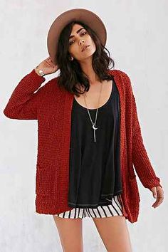 Ecote Textured Open-Front Cardigan - Urban Outfitters