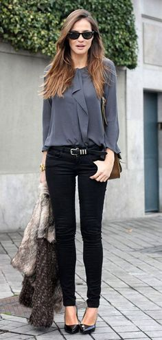 Silky grey shirt with black pants