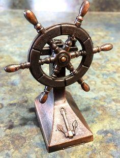 Vintage Brass Cast Ships Wheel  Pencil Sharpener by LeftoverStuff