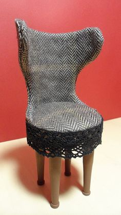 "Small chair by Tarja    ""I've been making 1/6 scale chairs all weekend. This one has a frame made of a small plastic bottle cut into shape. I like making this kind of chairs, because the technique is easy and versatile."""