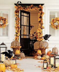 decorating outdoors for fall and halloween   How to Decorate a Porch for Fall   B.A.S Blog #FallHarvest and #HallmarkChannel