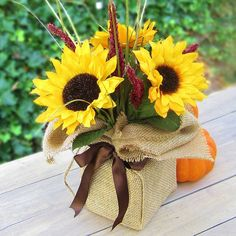 365 Designs: Sunflower Autumn Bouquet wrapped in burlap and twine