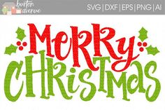 Merry Christmas w/Holly Berry cut File - SVG DXF EPS AI PNG from DesignBundles.net
