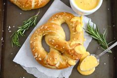 Rosemary Seat Salt Pretzels with Rosemary Cheddar Cheese Sauce! Must try!