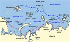 The eastern Arctic Ocean, including the Barents, Kara and Laptev Seas, showing the area between the North Pole and the Eurasian coast. Significant island groups (Spitsbergen, Franz Joseph Land, Novaya Zemlya, New Siberian Islands) are indicated.  https://en.wikipedia.org/wiki/Fridtjof_Nansen