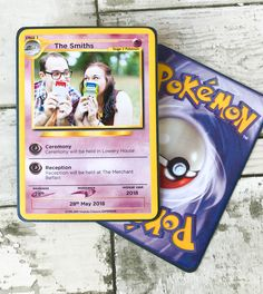 Have a lot of fun with your guests with these fantastic Pokemon trading card game style save the dates! Get them laughing and they will be so excited for your big day! #wedding #savethedates #pokemon
