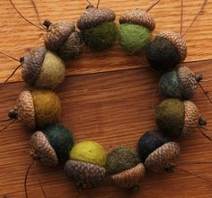 Felted acorns with real acorn tops...
