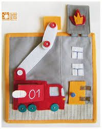 Fire truck quiet book page. whenever silence is required, keep your child entertained with your own fun and creative quiet book. by dee Diy Quiet Books, Baby Quiet Book, Felt Quiet Books, Quiet Book Templates, Quiet Book Patterns, Felt Diy, Felt Crafts, Silent Book, Fidget Quilt
