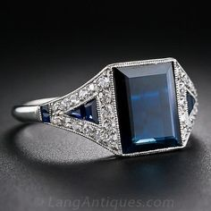 Art Deco Sapphire and Diamond Ring - 30-1-5163 - Lang Antiques