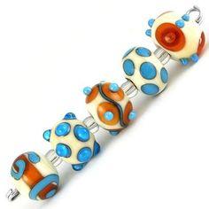 Handmade Amber and Turquoise Lampwork Bead Set
