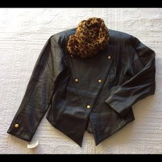 """Vintage 80's NWT Leather Jacket Authentic vintage straight from my Mommy's closet!  Soft black leather with tag still attached...  Great gold buttons throughout, shapes down to a """"V"""" in back with that vintage batwing sleeve.  This is a vintage size Large / 8-10.  I love the jacket but I just can't keep everything .  PLEASE FOLLOW ME ON IG @ClosetChic2Chic and I'll follow back  Thank You for Shopping By! PayPal  Low Balling  Drama  Comment Negotiations  Trades (Very selective) Bundles Offer…"""