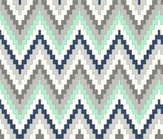 Luxe Chevron in Navy, Charcoal and Mint, half scale fabric by willowlanetextiles on Spoonflower - custom fabric