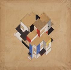 Theo van doesburg and cornelis van Eesteren. Studies for houses. 1923 #architecture