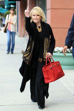 Joan Rivers and her fabulous orange Birkin