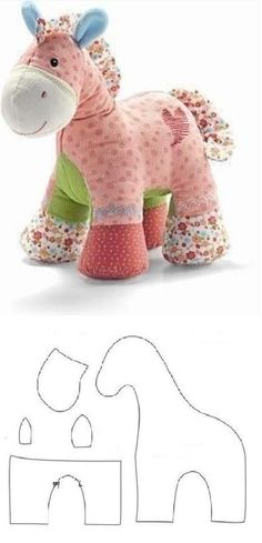 Make your own plushie horse.  Free sewing pattern for an adorable horse stuffed toy.  Great baby shower gift.