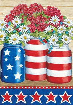 4th Of July Images, Patriotic Images, Flag Painting, Diy Painting, Painting Canvas, Rock Painting, Garden Flag Stand, Garden Flags, Americana Crafts