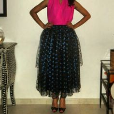 "New! The ""fly me to the moon"" blue polkadot tulle skirt! Paired with a hot pink top♡ by noora hefzi"