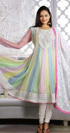 $116.16 Multi Color Moti Work Chiffon Anarkali Suit 25166