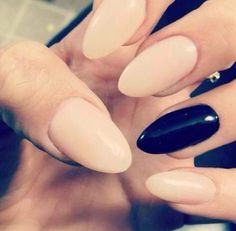 I want! nude nails with a black accent