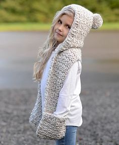 Summit Hooded Scarf Crochet pattern by The Velvet Acorn Crochet Hooded Scarf, Crochet Beanie, Crochet Scarves, Crochet Clothes, Hooded Scarf Pattern, Hooded Cowl, Velvet Acorn, Crochet For Kids, Crochet Baby