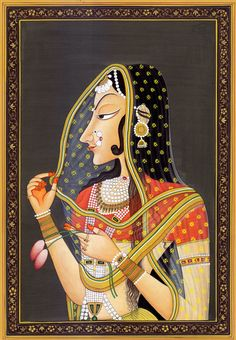 """Bani Thani is an Indian painting in the #Kishangarh school of paintings. It has been labeled as India's """"Mona Lisa"""". The painting's subject, Bani Thani, was a singer and poet in Kishangarh in the time of king Savant Singh (1748–1764)."""