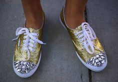 Glitter Sneaker: You'll Need: A Pair Of White Canvas Vans      8 Ounces Of Mod Podge      1.5 Ounces Of Coarse Gold Glitter      1 Small And 1 Medium Flat Brush      Assorted Rhinestones In Settings      Heavy Duty Adhesive      Small Plastic Tray      Tape