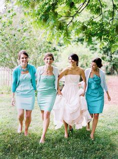 Southern weddings - teal bridesmaid dresses