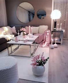 Living room setup grey pink and white colour scheme - - Wohnkultur Ideen - Wohnzimmer Living Room Setup, Living Room Decor Cozy, Living Room Grey, Home Living Room, Apartment Living, Living Room Designs, Cozy Bedroom, Living Room Ideas Pink And Grey, Cozy Apartment