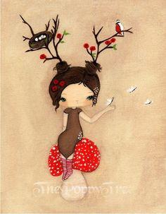 Poppy Print Whimsical Tree Girl Mushroom Wall by thepoppytree