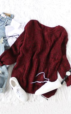 Cozy Christmas red fashion-Burgundy drop shoulder high low sweater outfit.