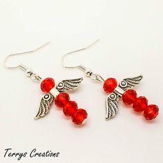Red Crystal Guardian Angel Drop Earrings Silver Angel Wings W132