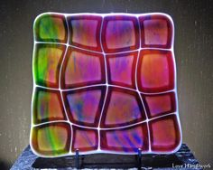 """This is popular plate made from a free pattern called """"Retro Warp"""" provided by Spectrum Glass. It is wonky shaped pieces of a tie dye cranberry glass on white. It is beautiful with light shining throu Fused Glass Plates, Glass Tray, Fused Glass Art, Glass Dishes, Stained Glass Art, Glass Candle, Etched Glass, Cranberry Color, Cranberry Glass"""
