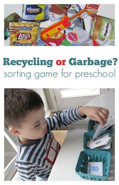 recycling sorting game for kids great earth day activity Sorting Games, Sorting Activities, Kindergarten Activities, Activities For Kids, Preschool Classroom, Toddler Preschool, Preschool Ideas, Preschool Spanish, Classroom Hacks