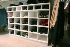 shoe organizer plans from ana-white.com (with squatter cubbies for womens' flats/children's shoes!); estimated cost: $10, estimated time investment: 0-2 hrs.; could dad/josh construct 2 and stack vertically?