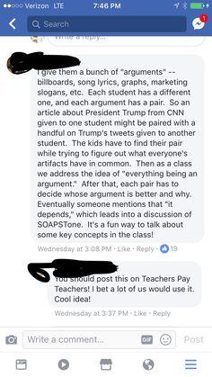 Everything is an argument Teaching Literature, Teaching Reading, Social Studies Classroom, School Classroom, Ap English, English Language, Language Arts, Teaching English, English Teachers