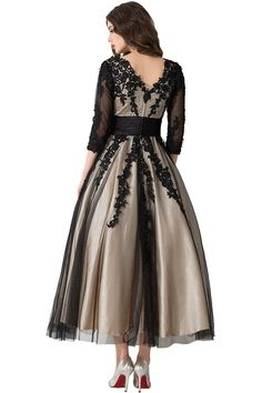Sunvary New V Neck Long Sleeves Mother of Bride Dresses Prom Gowns Size 2- Black and Champagne
