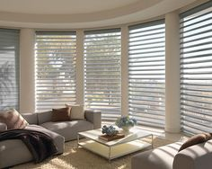 Hunter Douglas Pirouette Window Shadings! They offer the flexibility to have the veins open for lots of light and views, or closed for privacy! The beauty of the shear shading on these is so unique offering UV protection while allowing you to see perfectly clear out your windows. Austin Window Fashions