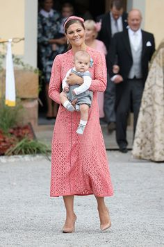 Crown Princess Victoria wore a beautiful pink Elie Saab gown to the christening of her nephew and godson, Prince Alexander.