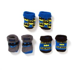 {Infant Boys Batman 3 Pack Booties} supposedly for boys only? not in my world! equal opportunity Batman booties, baby.