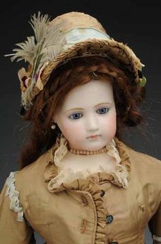 *JUMEAU POUPEE PEAU FASHION LADY DOLL ~  French, bisque socket head by Emile Jumeau swivels on shoulder plate, blue paperweight eyes, lightly stroked eyebrows, painted upper + lower eyelashes, closed mouth w/lip shading, pierced ears, includes: French poodle + parasol, c.1870