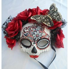 El Dia de los Muertos, day of the Dead Red Masquerade Skull Mask ❤ liked on Polyvore featuring home, home decor, holiday decorations, halloween, butterfly home decor, red home decor, skull home accessories, halloween home decor and red home accessories
