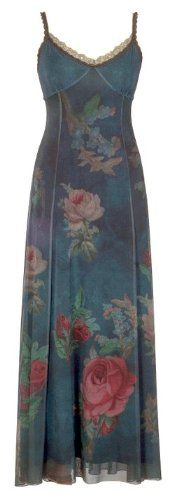 Amazon.com: Vintage Style Blue Long Dress Created by Michal Negrin with Victorian Style Rose Pattern, Lace Trim Edge and Spaghetti Straps: Clothing $1,128.00   #vintage #dress #fashion  http://www.amazon.com/gp/product/B00867J8K2/ref=as_li_ss_tl?ie=UTF8=batbomandli0f-20=as2=1789=390957=B00867J8K2