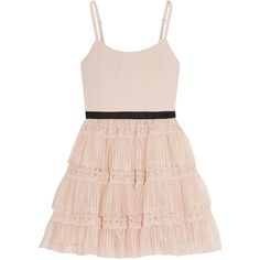 Alice + Olivia Grace tiered jersey and tulle mini dress ($349) ❤ liked on Polyvore featuring dresses, blush, short fitted dresses, embroidered dress, short pink dress, loose dress and fitted dresses