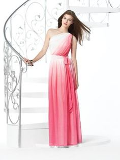 pink ombre bridesmaids dress