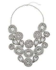 White House | Black Market White Crystal Fabric Bib Necklace #whbm Great statement necklace